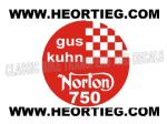 Gus Kuhn Norton 750 Tank and Fairing Transfer Decal  DGK1-30 RED